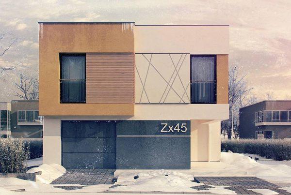wizualizacja zimowa domu zimą