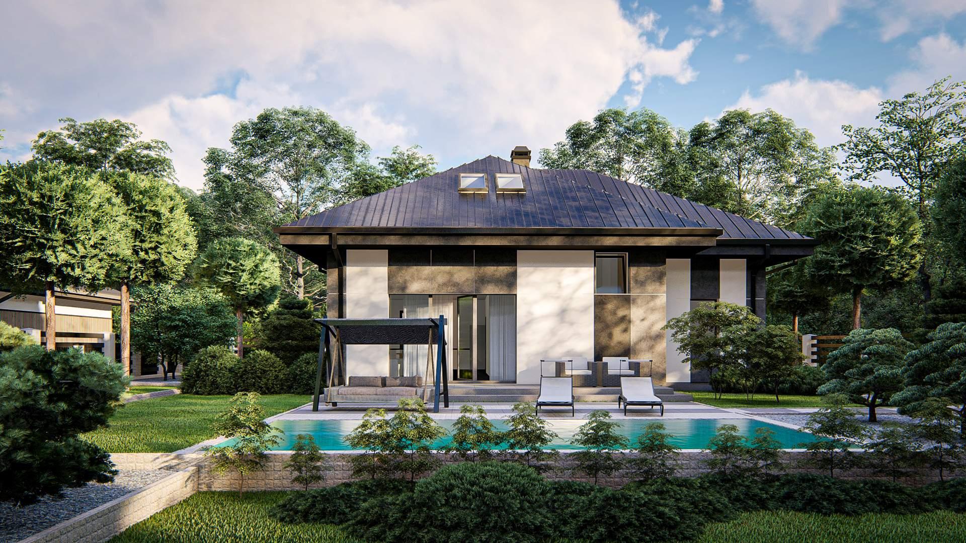 wizualizacja projektu domu jednorodzinnego parterowego