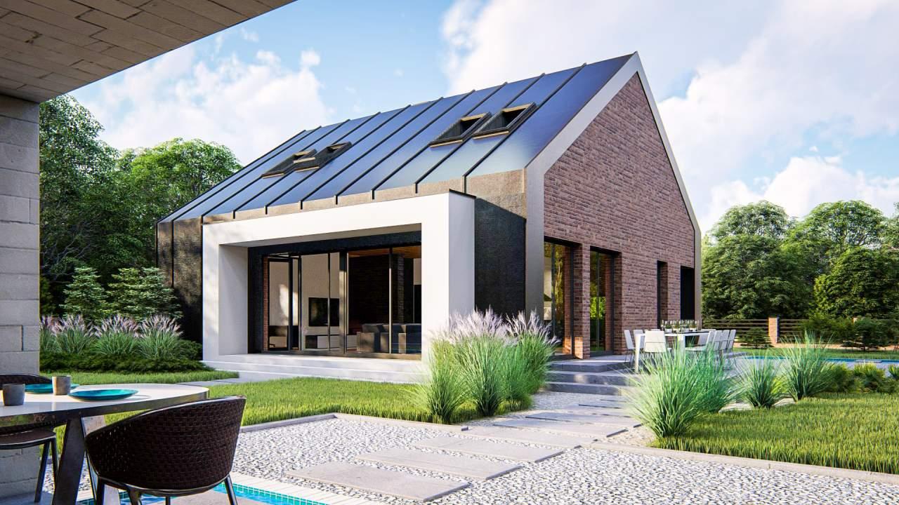 wizualizacja projektu domu jednorodzinnego z poddaszem