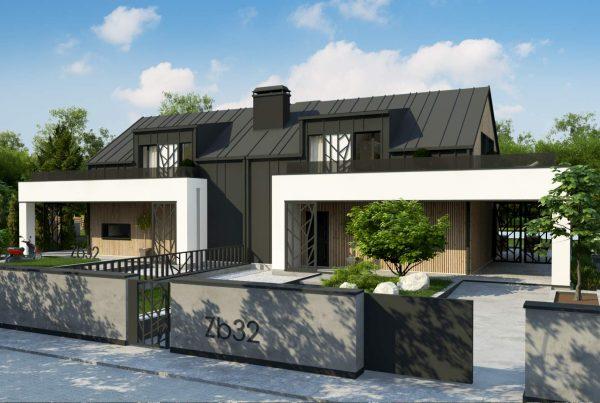 animacja osiedla domów w zabudowie bliźniaczej nowoczesne