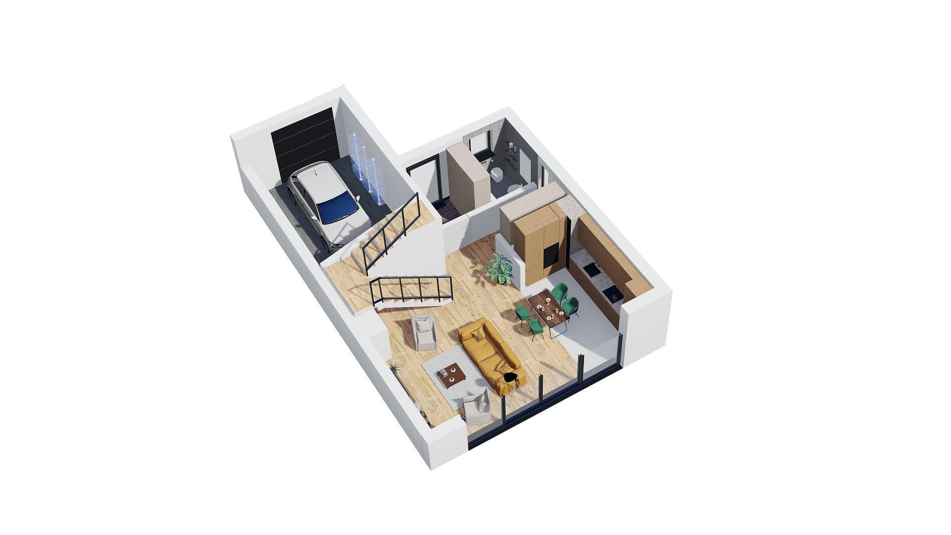 rzut 3d domu parter domu jednorodzinnego rzuty pomieszczeń