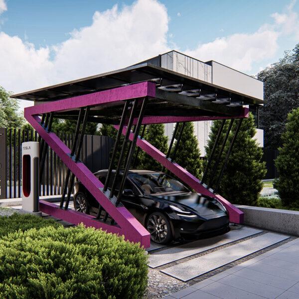 wizualizacje wiaty garażowej nowoczesnej z panelami słonecznymi