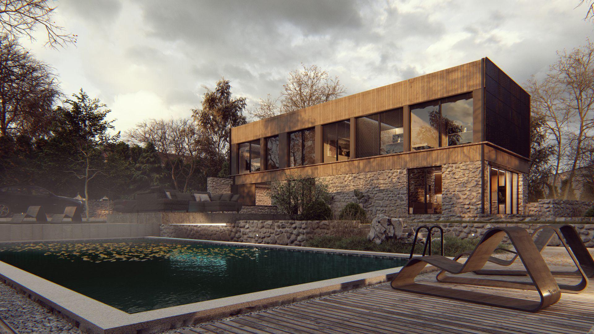 wizualizacje jesienne budynek dom osiedle jesień 3D